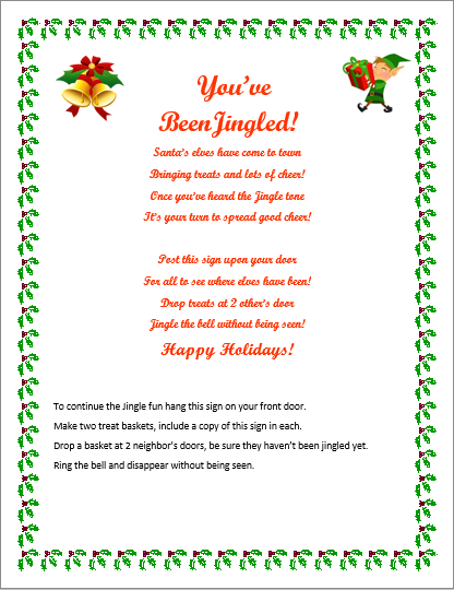 photograph about You've Been Elfed Free Printable called Youve Been Jingled! Free of charge Printable! - Savvy Nana
