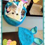 Easy Crochet Peek-A-Boo Bunny Basket & Hat Set - FREE Patterns