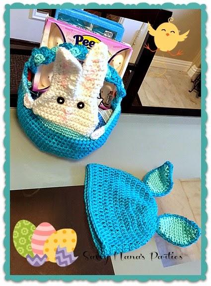 Easy Crochet Peek A Boo Bunny Basket Hat Set Free Patterns
