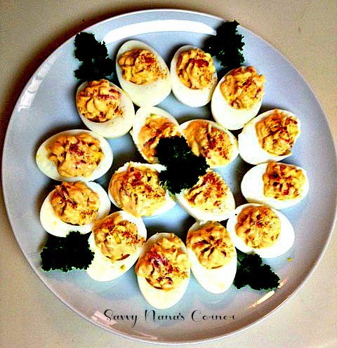 Roasted Red Pepper Deviled Eggs