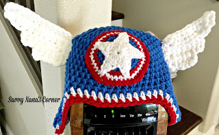 Just in time for Halloween I made this cool super hero hat for my grandson  Devon. His favorite super hero is Captain America and he loves hats! f45fe24f04d