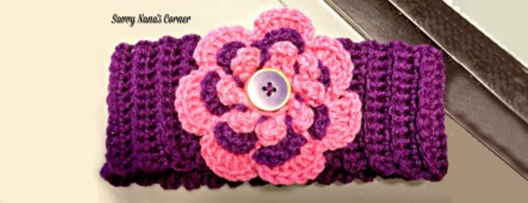 Adult Earwarmers with Flower & Button Accent – Free Pattern