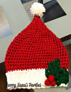 Crocheted Santa Hat Free Pattern Savvy Nana
