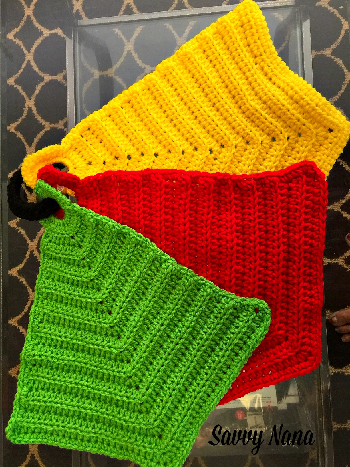 Crocheted Kitchen Hot Pads - FREE Crochet Pattern - Savvy Nana