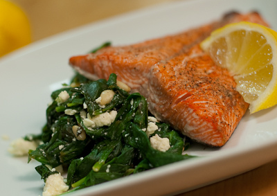 Broiled Salmon with Spinach and Feta Recipe