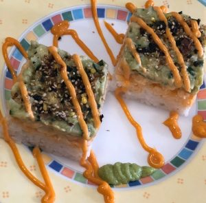 Layered Spicy Shrimp Sushi