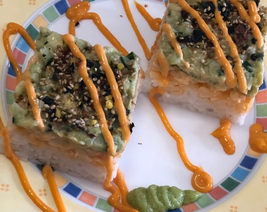 Layered Spicy Shrimp Sushi