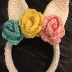 Adorable Crochet Bunny Ears Headband with Flowers