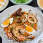 Pancit Palabok (Philippine Style Noodles in Prawn Gravy)