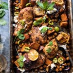 Sheet pan harissa chicken with chickpeas and sweet potatoes.