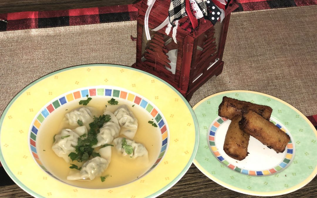 Wonton Soup and Mini Egg Rolls