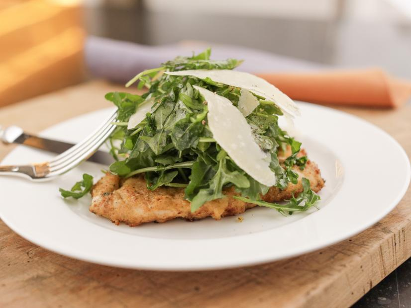 Lemon Parmesan Chicken with Arugula Salad Topping