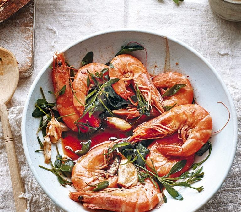 Chilli and garlic prawns with sea purslane