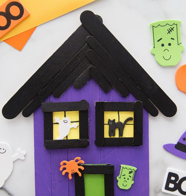 Popsicle Stick Haunted House Craft