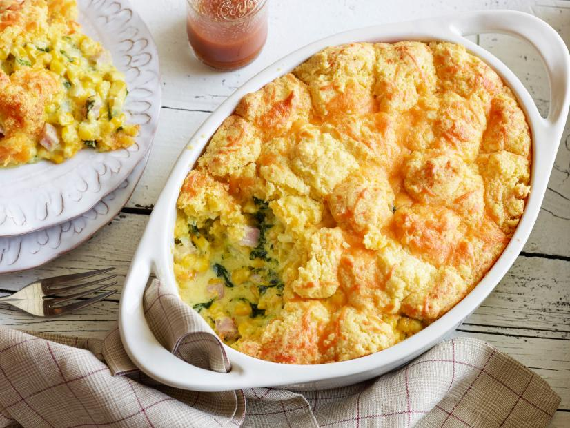 Breakfast Cornbread Casserole with Ham and Kale
