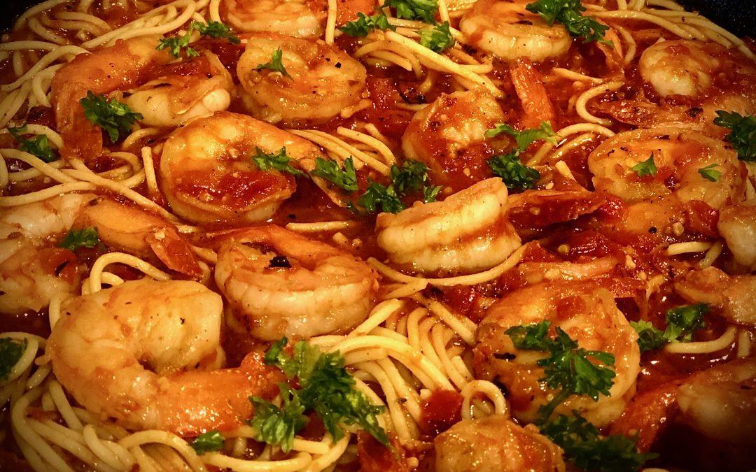Scampi Fra Diavolo with Spaghetti