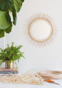 DIY Rattan Sunburst Mirror