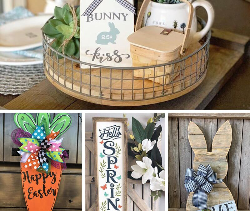 Lot of 3 Wood Bunnies Spring Blessings Bloom Easter Farmhouse Shelf Sitter NEW