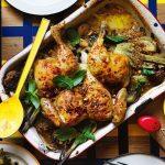 Almond dukkah chicken bake with amaranth and herbs