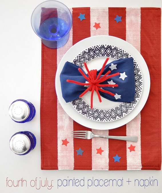 4th of July Painted Placemat & Napkin