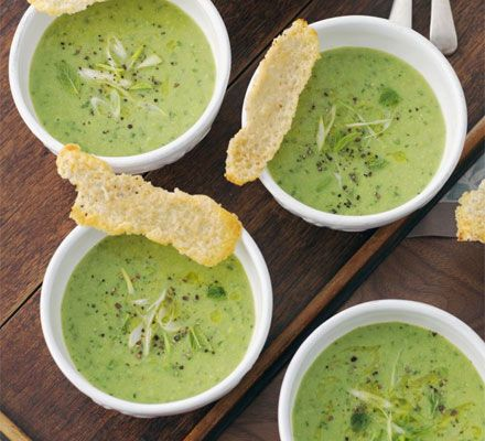 Pea, Mint & Spring Onion Soup with Parmesan Biscuits
