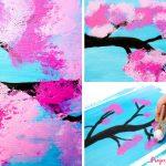 Cherry Blossom Painting Cotton Balls