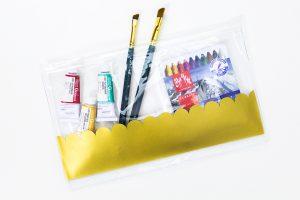DIY Gold Vinyl Pencil Pouches