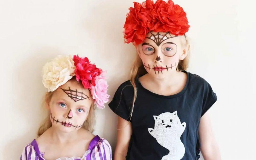 Dia de los Muertos Simple Sugar Skull Makeup & DIY Headband